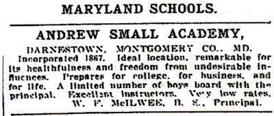 Washington Post Display Ad for the Academy, 1903 image. Click for full size.