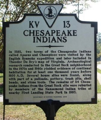 Chesapeake Indians Marker image. Click for full size.
