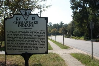 Chesapeake Indians Marker looking south along Thomas Bishop Lane image. Click for full size.