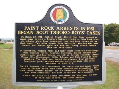 Paint Rock Arrests in 1931 Began 'Scottsboro Boys' Cases Marker image. Click for full size.