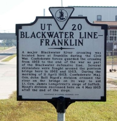 Blackwater Line - Franklin Marker image. Click for full size.