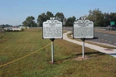 Blackwater Line - Franklin Marker (r) shares location with Camp Manufacturing Company Marker image. Click for full size.