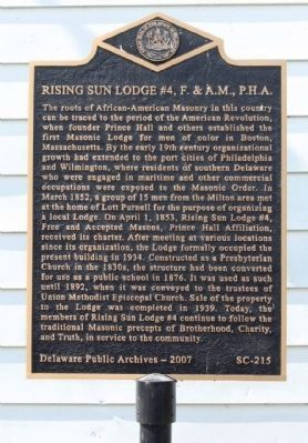 Rising Sun Lodge #4, F. & A.M., P.H.A. Marker image. Click for full size.