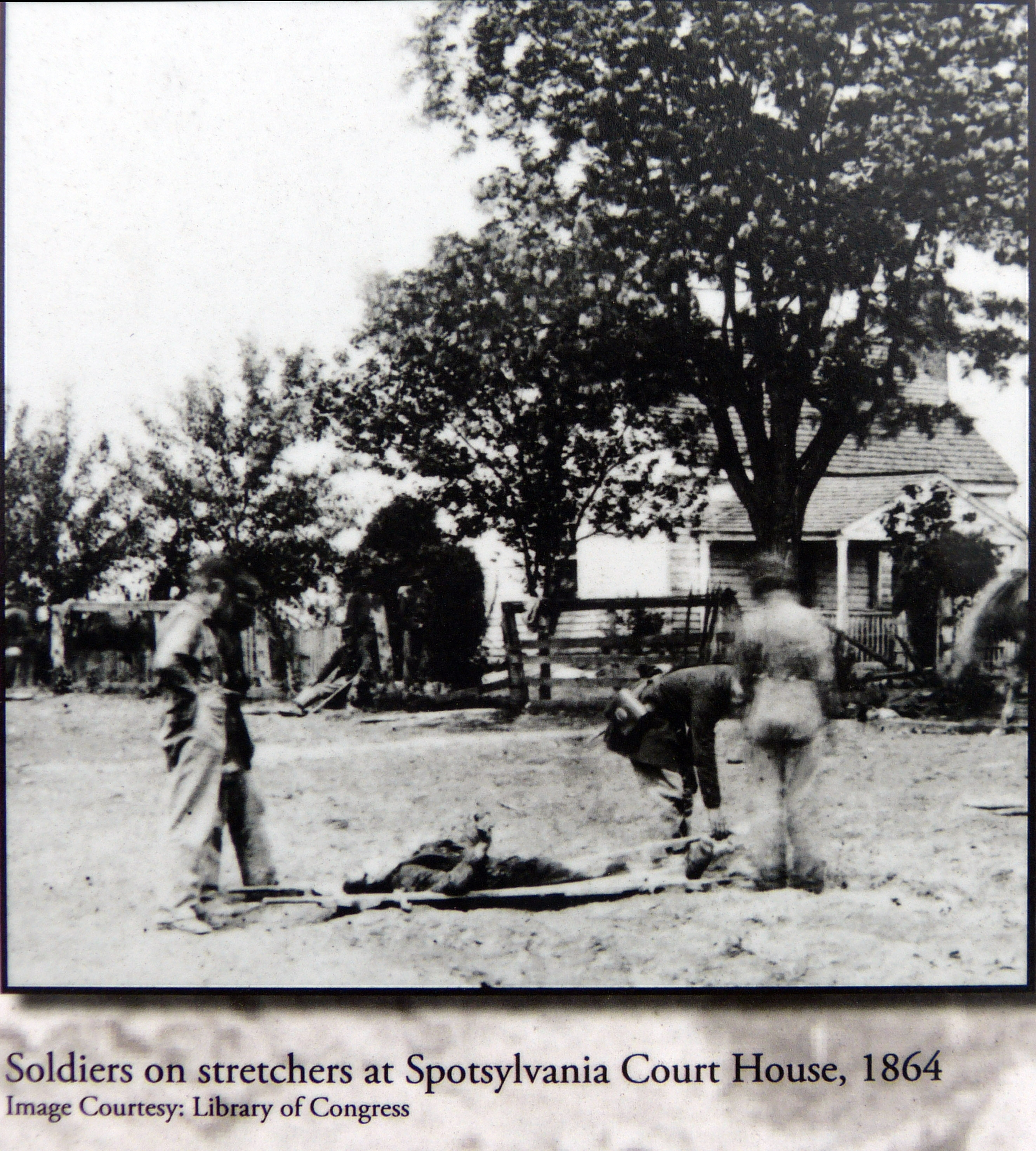 Soldiers on stretchers at Spotsylvania Court House, 1864