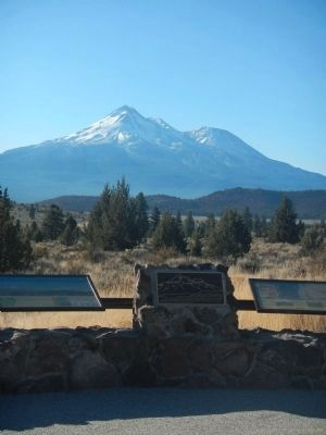 Mount Shasta Marker with Mount Shasta in the Background image. Click for full size.