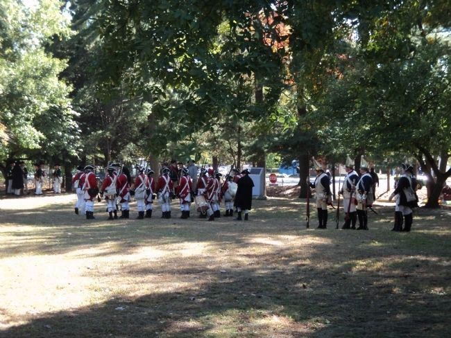 Reenactors at the National Park Armed Service Monument image. Click for full size.