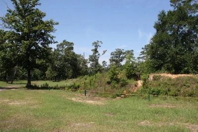 Confederate breastworks at Fort Blakely located on the Tensaw River northeast of Mobile. image. Click for full size.