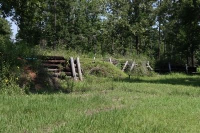 Union breastworks at Fort Blakely located on the Tensaw River northeast of Mobile. image. Click for full size.