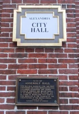 """Site of Assembly Hall"" - marker plaque at corner, No. Fairfax and Cameron Streets image. Click for full size."