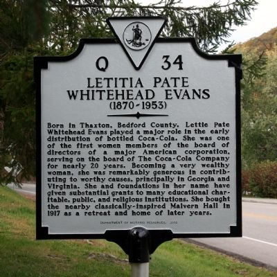 Letitia Pate Whitehead Evans Marker image. Click for full size.