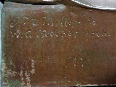 Signatures of J.M. Miller Sculptor and W. G. Beecher Architect image. Click for full size.