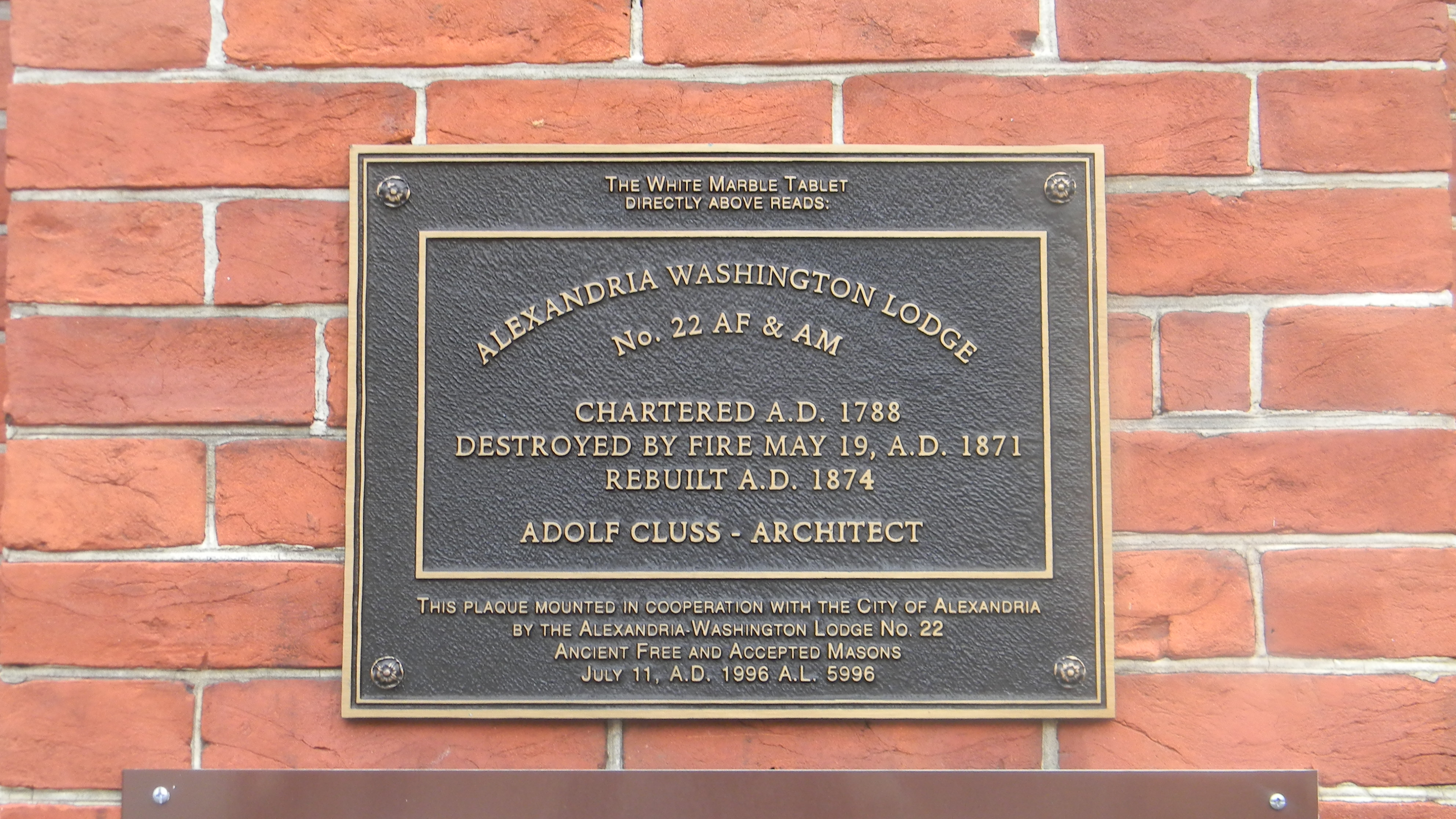 Alexandria-Washington Lodge No. 22 AF & AM Marker
