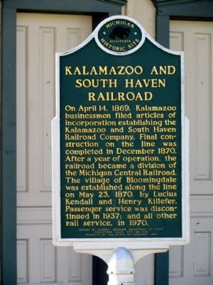 Kalamazoo and South Haven Railroad Marker image. Click for full size.