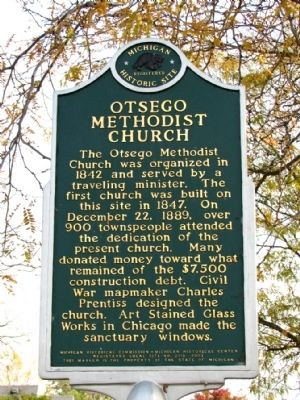 Otsego Methodist Church Marker image. Click for full size.