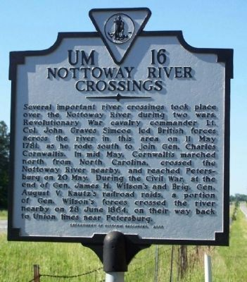 Nottoway River Crossings Marker image. Click for full size.