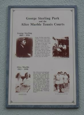 George Sterling Park and the Alice Marble Tennis Courts Marker image. Click for full size.