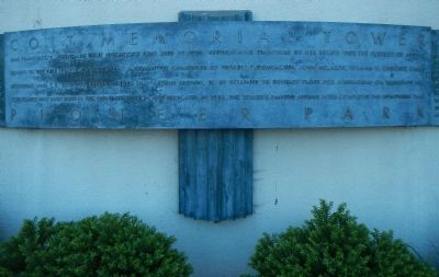 Coit Memorial Tower Marker, center panel image. Click for full size.