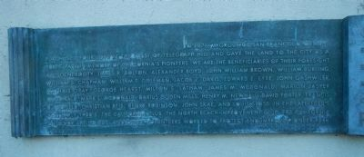 Coit Memorial Tower Marker, left panel image. Click for full size.