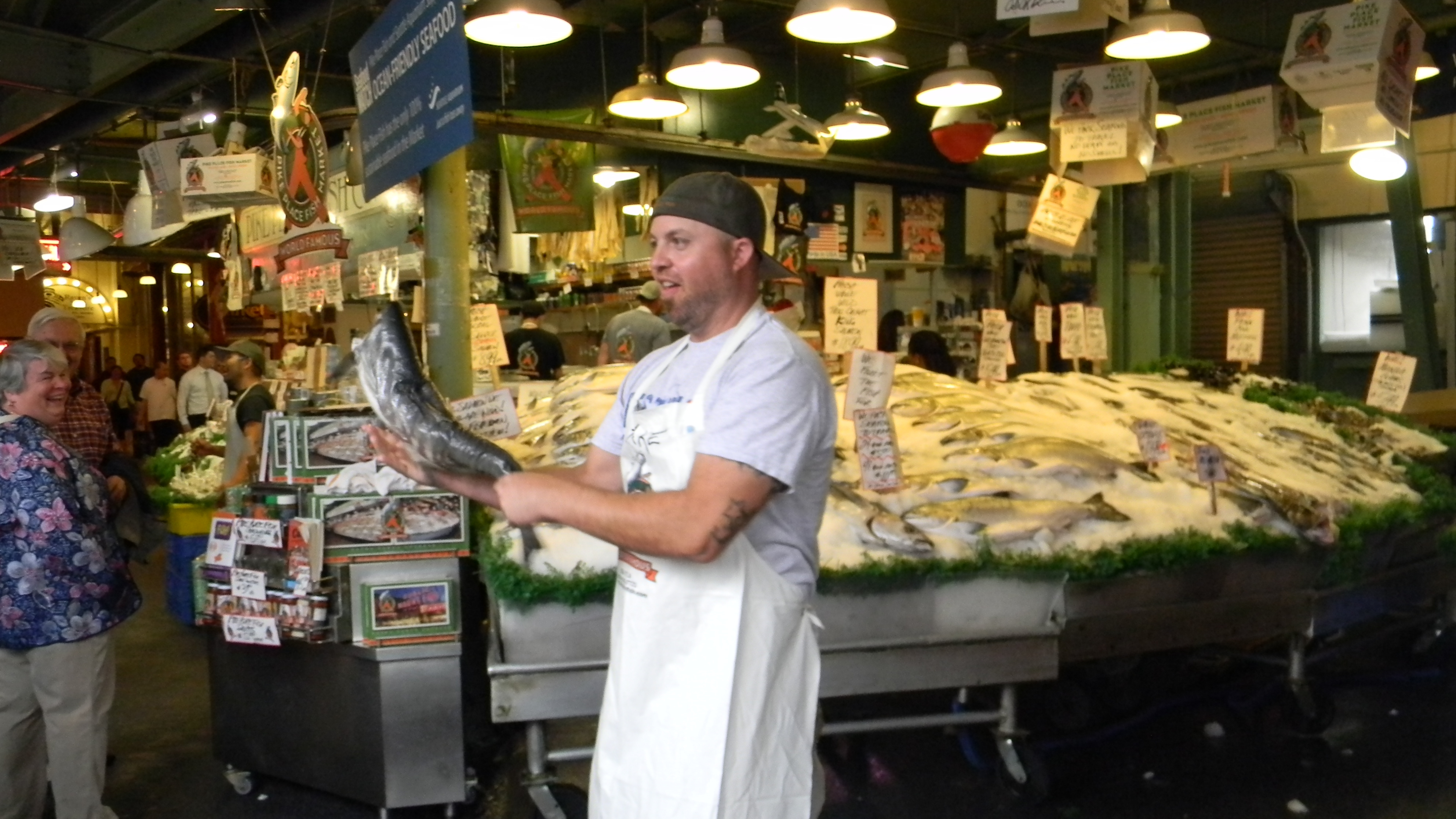 "One of the famous Pike Place ""Fish Guys"""