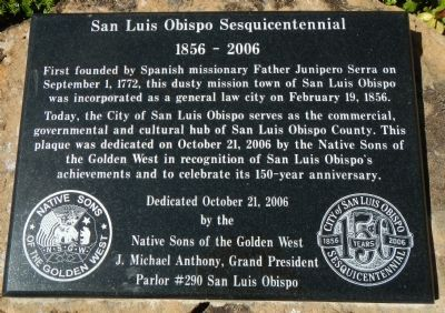 San Luis Obispo Sesquicentennial Marker image. Click for full size.