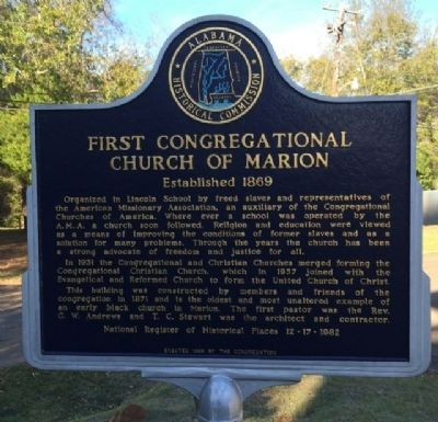 First Congregational Church of Marion Marker image. Click for full size.