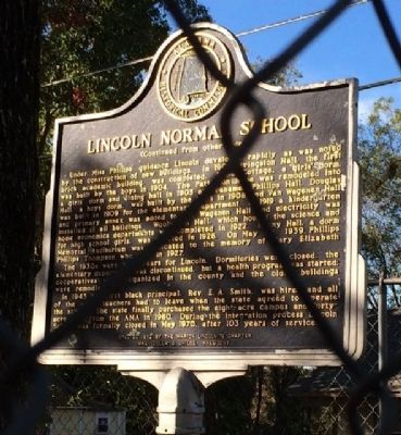 Lincoln Normal School Marker (reverse) image. Click for full size.