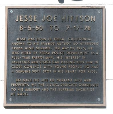 Memorial to Jesse Joe Hittson on the building wall image. Click for full size.