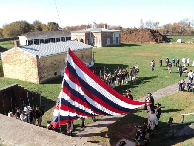 Flag Raising at the Main Gate of Fort Mifflin image. Click for full size.