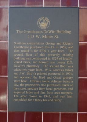 The Greathouse/DeWitt Building Marker image. Click for full size.