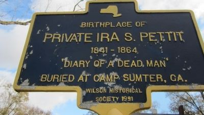 Birthplace of Private Ira S. Pettit Marker image. Click for full size.