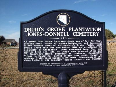 Druid's Grove Plantation / Jones-Donnell Cemetery Marker image. Click for full size.