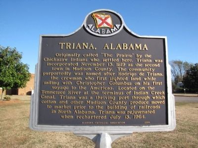 Triana, Alabama Marker image. Click for full size.