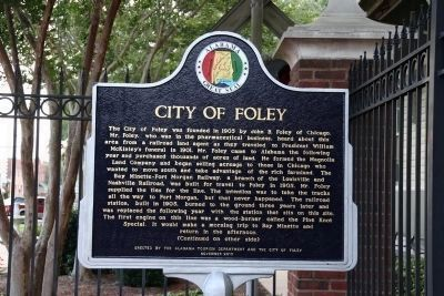 City of Foley Marker (side 1) image. Click for full size.