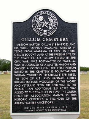 Gillum Cemetery Marker image. Click for full size.