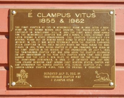 E Clampus Vitus 1855 & 1962 Marker image. Click for full size.