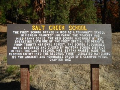 Salt Creek School Marker image. Click for full size.
