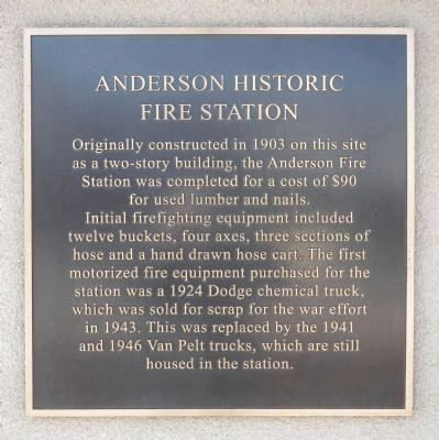 Anderson Historic Fire Station Marker image. Click for full size.