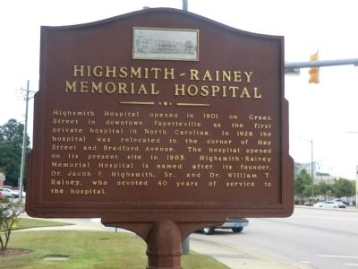 Highsmith-Rainey Memorial Hospital Marker image. Click for full size.
