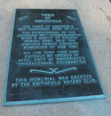 Town of Smithfield Marker image. Click for full size.