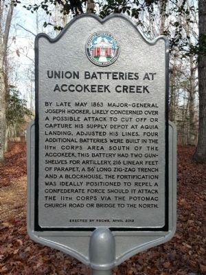 Union Batteries at Accokeek Creek Marker image. Click for full size.