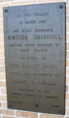 "Churchill's ""Iron Curtain"" Speech Marker image. Click for full size."