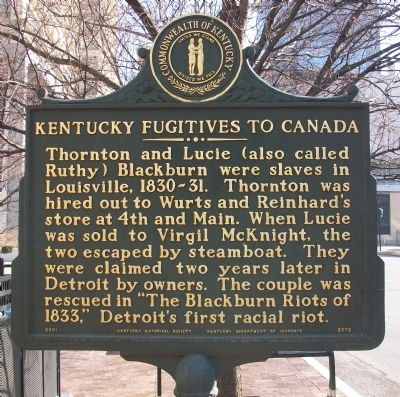 Kentucky Fugitives to Canada Marker image. Click for full size.