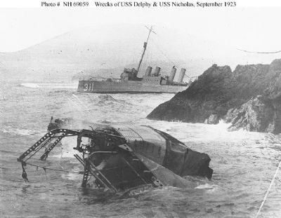 Wrecks of USS Delphy (foreground)<br>and USS Nicholas (background) image. Click for full size.