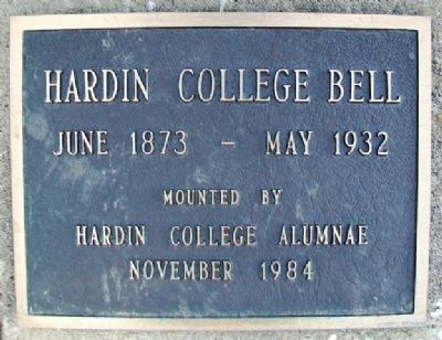 Hardin College Bell Marker image. Click for full size.