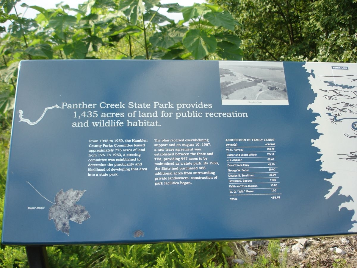Welcome to the Overlook at Panther Creek State Park Marker