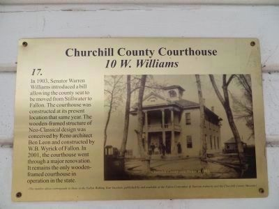 Churchill County Courthouse- Lower Marker image. Click for full size.