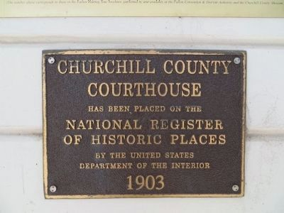 NRHP Plaque at Entrance to Churchill County Courthouse image. Click for full size.