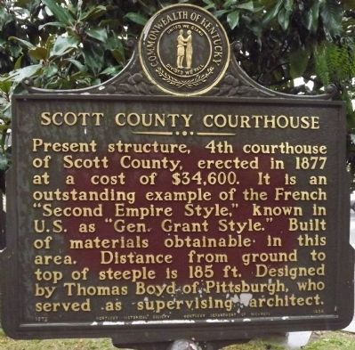 Scott County Courthouse / Goebel Trial Here Marker image. Click for full size.