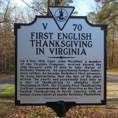 First English Thanksgiving in Virginia Marker image. Click for full size.