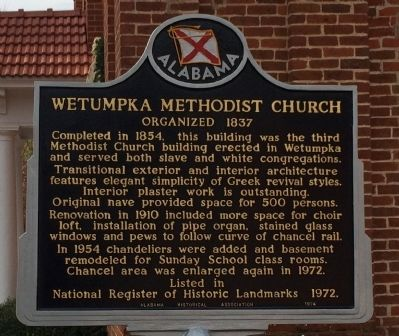 Wetumpka Methodist Church Marker image. Click for full size.